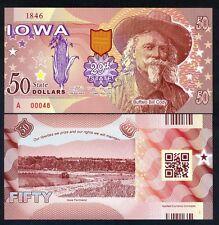USA States, Iowa, $50, Polymer, ND (2017), UNC - Buffalo Bill Cody
