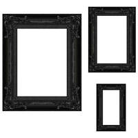 Black Frame Photo Prop Set Of 3, Cardboard Cutouts Picture Frames