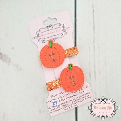 Personalised Halloween Pumpkin Initial Fringe Clips