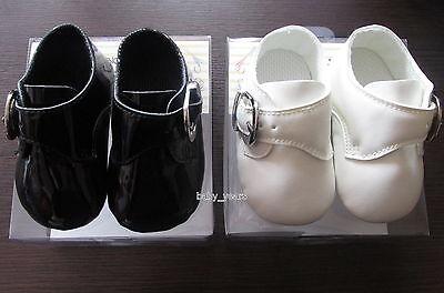 Faithful Boys Black Ivory Shoes Christening Wedding Party Buckle Soft Pram Shoes New