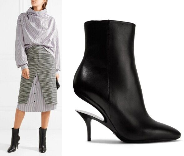 MM6 MAISON MARGIELA Cutout Suspended-heel leather ankle boots US 5.5 IT 36  1395