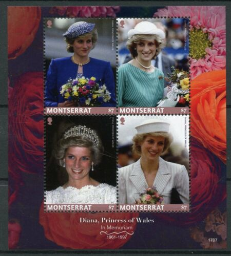 Montserrat 2017 MNH Diana Princess of Wales 20th Memorial 4v M/S Royalty Stamps