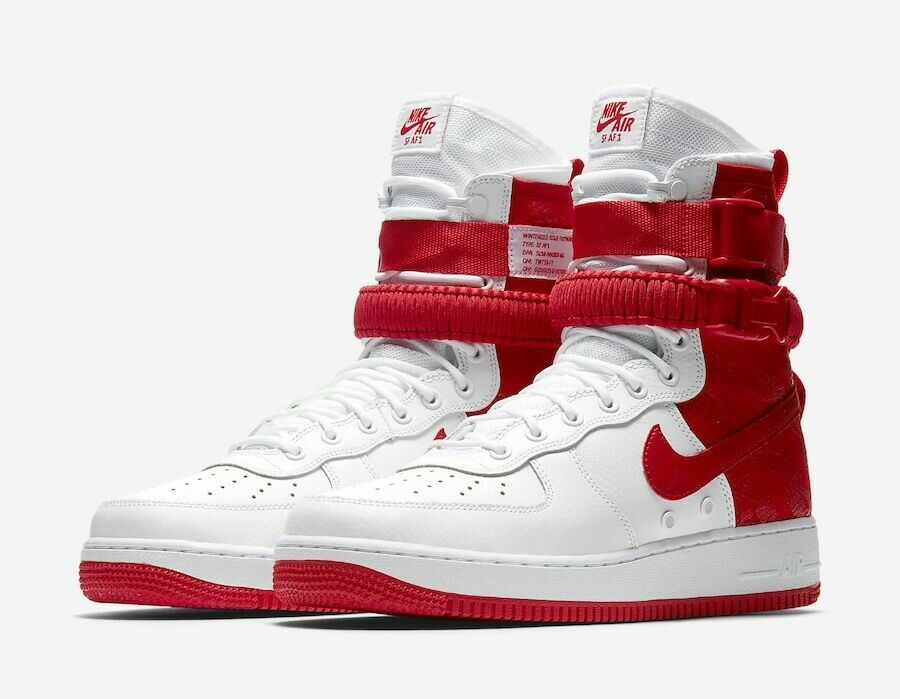 Uomo Nike SF Air Force 1 White Red Shoes Size 10 (AR1955-100)