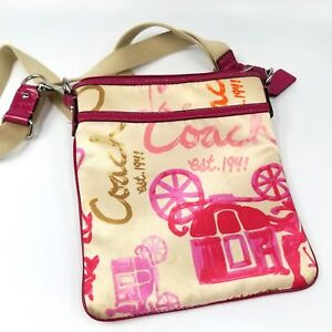 826bc82e0796 Details about Coach Horse Carriage Logo Crossbody Messenger Swing Pack Purse  Pink Travel Bag