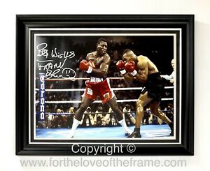 Frank Bruno Hand Signed Boxing Photo Mike Tyson In Handmade Luxury Wooden Frame