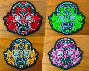 Patch Totenkopf Mexico mit Rose Aufnäher rosa-orange