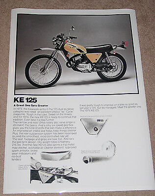 1976 KAWASAKI KE125 VINTAGE MOTORCYCLE AD POSTER PRINT 36x25 9MIL PAPER