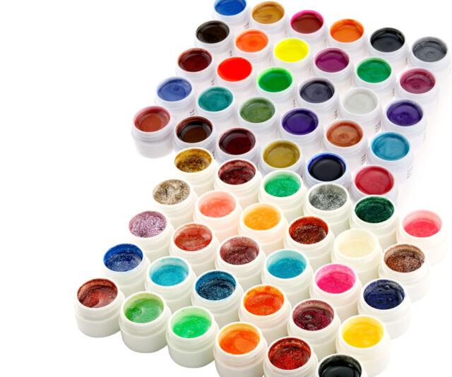 60 Mix Color UV Nail Gel Set Pearl & Glitter Color Builder Gel