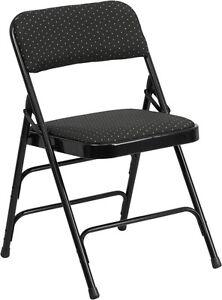 Metal Folding Chair Black Color Fabric Heavy Duty Triple Braced & Quad Hinged