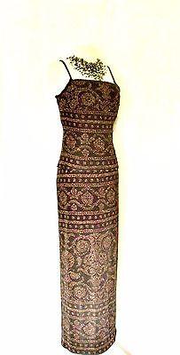 New JOSEPH RIBKOFF Black Gold & Red Size 12 Ladies Designer Maxi Skirt & Top LBD