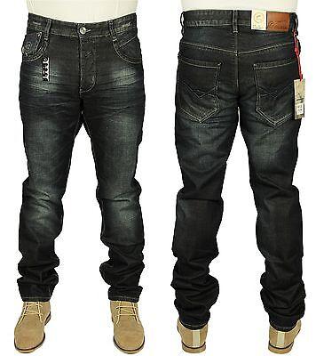 Mens New Eto Straight Leg Denim  King Sizes Jeans Dark Blue Designer 28 to 48
