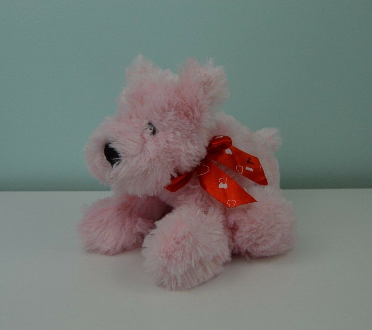 Animal Adventure Pink Puppy Dog Plush Stuffed Animal Toy Red Bow White Hearts