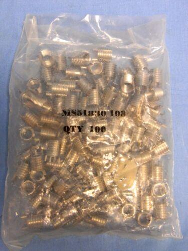 "100 MS51830-108 Mil-Spec CRES Keylock Threaded Insert OD 1//2""-13 ID 3//8/""-16"