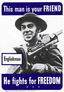 2W29-Vintage-WWII-Englishmen-Your-Friend-U-S-Propaganda-War-Poster-WW2-A2-A3