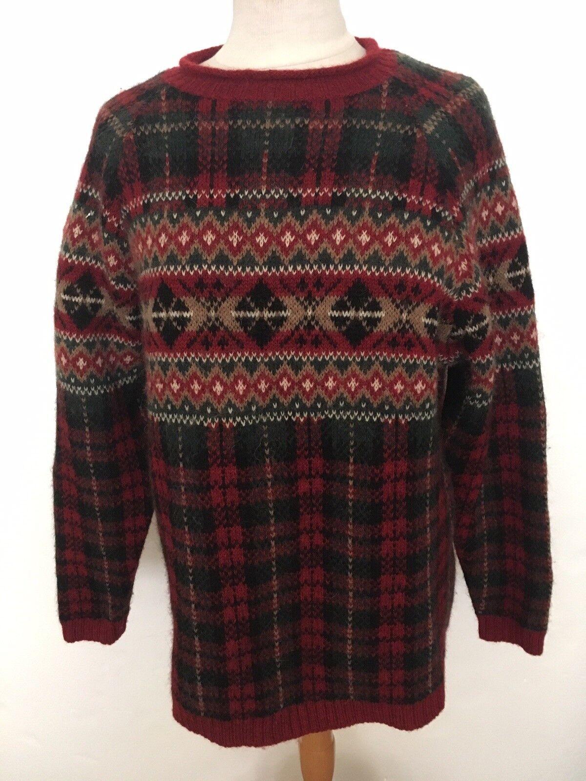 Jones New York Red Green Wool Alpaca Nordic Sweater Sz M