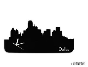 dallas skyline silhouette wall clock ebay