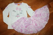 NWT Gymboree Center Stage 2T Set Girl with Balloons Shirt Pink Flower Tutu Skirt