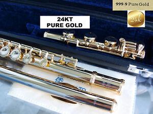 Querflote Gold 24 Karat 999 Geschlossene Klappen H Fuss Goldflute B