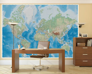 Weltkarte-Fototapete-Relief-Karte-Wandbild-XXL-Weltkarte-Miller-Projection