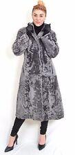 US310 Vintage Lambskin Sheepskin Fur Coat Jacket Gray Lammfell Mantel ca. M
