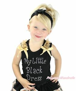 72794c7a74a5 Rhinestone My Little Black Dress Baby Girls Black Top Pettitop Shirt ...