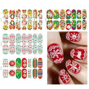 Christmas-Nail-Art-Stickers-3D-Design-Manicure-Tips-Decals-Wraps-Decoration-FD