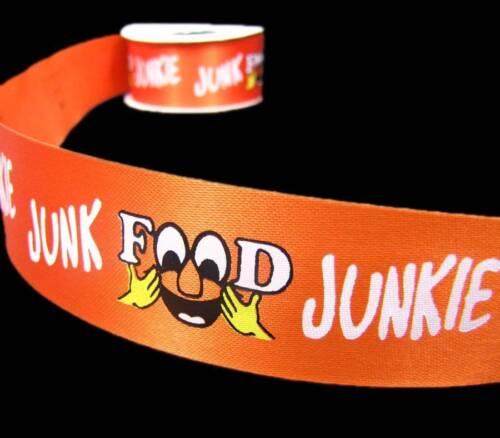 "6 Yds Junk Food Junkie Orange Acetate Ribbon 1 3//8/""W"