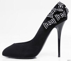 ca59f5ae07f85 new $1195 Giuseppe ZANOTTI black suede JEWELED BOWS platforms shoes ...