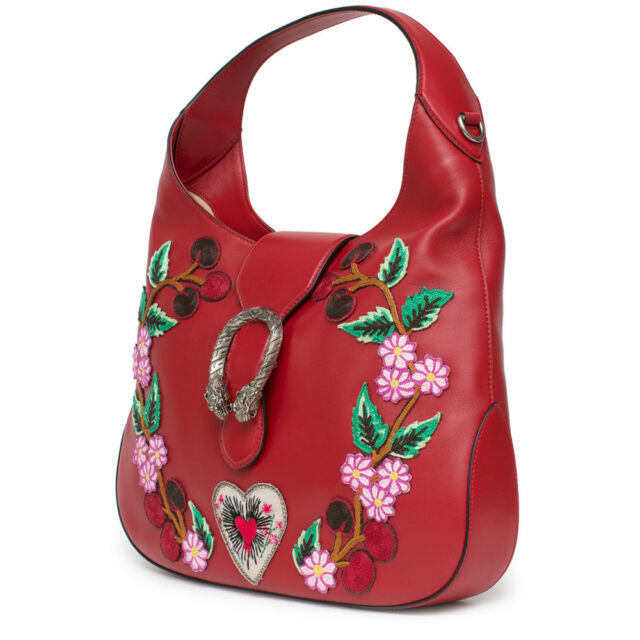 dc1940f8a Gucci Red Dionysus Embroidery Leather Hobo Blue Bag Cherry Blossoms Handbag  New