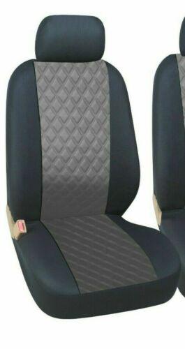 2+1 fundas para asientos delantero ya referencias gris-negro de piel sintética con rauteprint