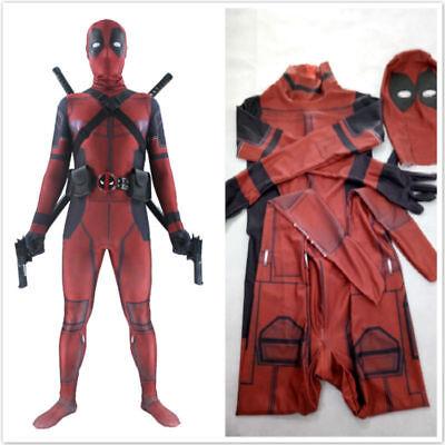 UK Adult Kids Cosplay Party Deadpool Costume Mask Lycra Zentai Bodysuit Costumes