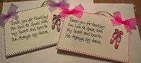 Handmade Wooden THANK YOU,  DANCE TEACHER  plaque - keepsake, gift