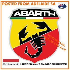 NEW VINTAGE ABARTH  FIAT STICKER DECAL X-LARGE 240mm DIA / WIDE HOT ROD