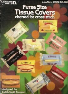 Purse-Size-TISSUE-COVERS-in-Counted-Cross-Stitch-Leisure-Arts-233-Vtg-1982