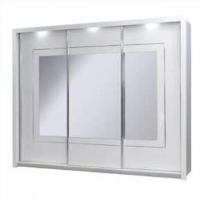 Armadio Ante Scorrevoli Specchio Prezzi.Armadio Ad Ante Scorrevoli Specchio E 3 Luci Creta L 250 Nuovo