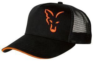 Fox-Noir-Orange-Casquette-Camionneur-Peche-a-la-carpe-Habits