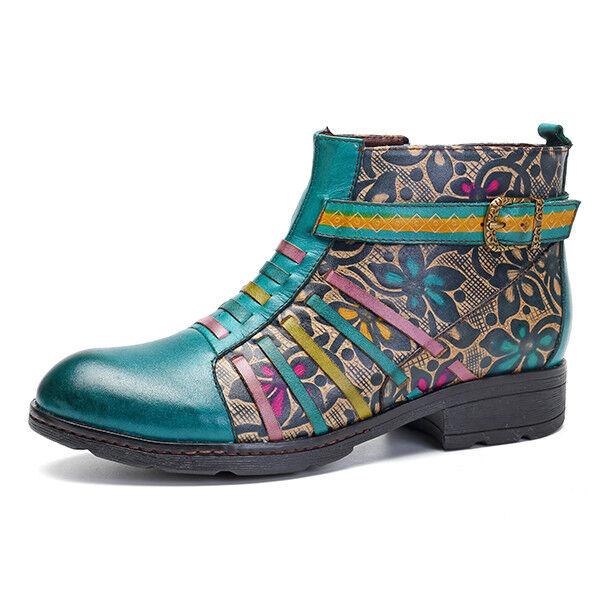 Botas Con Cremallera de Bloque de Mujer socofy hecho a mano de Cremallera cuero genuino al Tobillo Zapatos De Empalme b14662