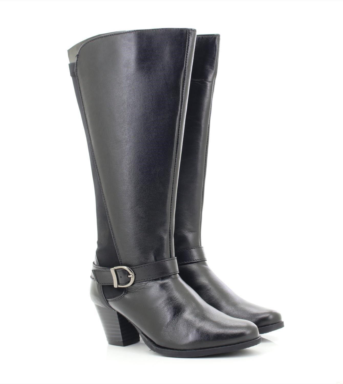 Damen Schwarz Comfort Plus '18806' Weiches Leder Hohe Stiefel UK 3 - 8