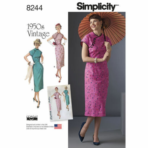1950s Sewing Patterns | Swing and Wiggle Dresses, Skirts    Simplicity 8244 Paper Sewing Pattern Misses Dress Vintage 1950s Retro 6-22 $5.50 AT vintagedancer.com