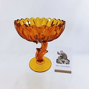 "Compote Snack Candy Dish Indiana Glass Amber Floral Stemmed Lotus Blossom 7"" H"