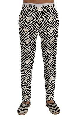 W36 NEW $960 DOLCE /& GABBANA Pants Black White Slim Fit Hemp Linen s IT50