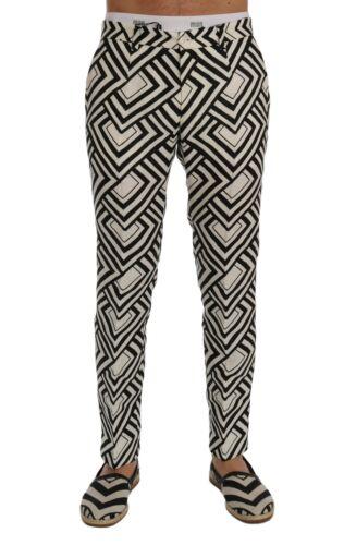 NEW $980 DOLCE /& GABBANA Pants White Black Striped Linen Casual s W30 IT44