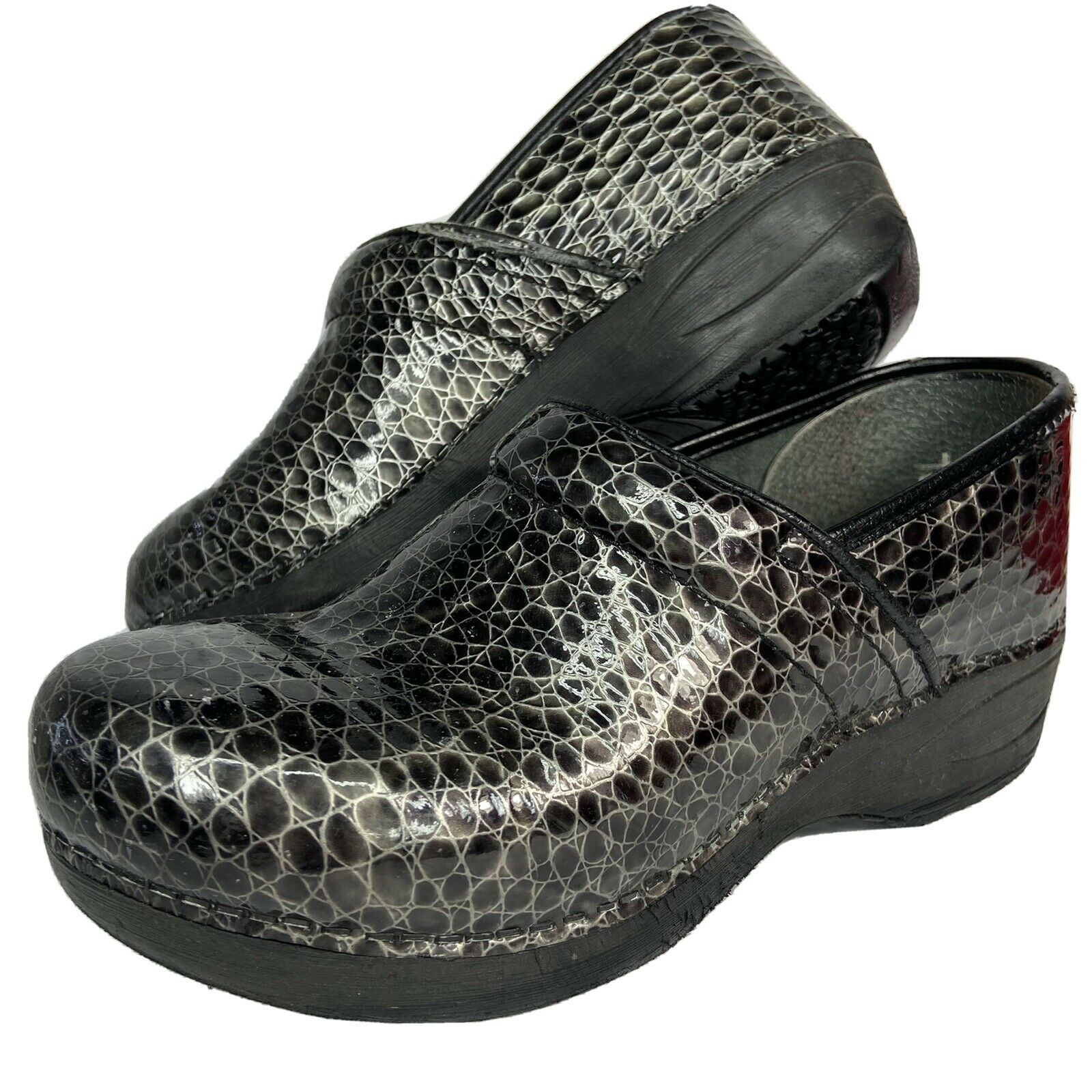 Dansko Pro XP 2.0 Womens Professional Clogs Black Grey Reptile Size 38
