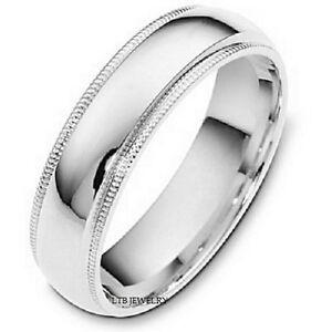 Details About 14k Solid White Gold Milgrain Shiny Finish Mens Womens Wedding Band Ring 6mm