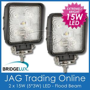 2 x 15W BL LED SQUARE FLOOD/WORK LAMPS- 4x4/Driving/Truck/Boat/Caravan/RV Lights