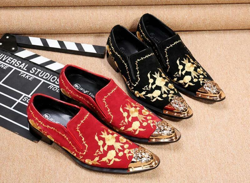 Plus Size Men's Metal Pointed Toe Embroidery Leather Slip On Dress shoes ADE