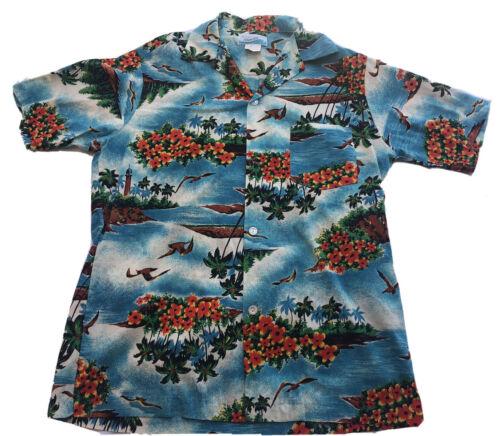Vintage PENNEYS HAWAII Mens Mans Shirt Hawaiian Aloha Shirt Abstract Print Plastic Buttons Short Sleeves Cotton Bark Cloth 46 Chest c1980s