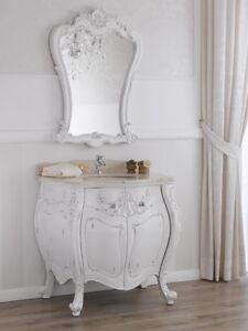 Détails sur Meuble salle de bain avec miroir Anderson style Shabby Chic  blanc bombé vieilli