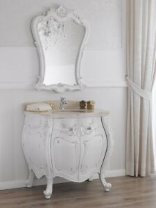 Meuble salle de bain avec miroir Anderson style Shabby Chic blanc ...
