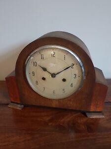 Antique-1930-039-s-Enfield-Oak-Mantel-Clock-Chiming-with-Pendulum-Napoleon-Hat